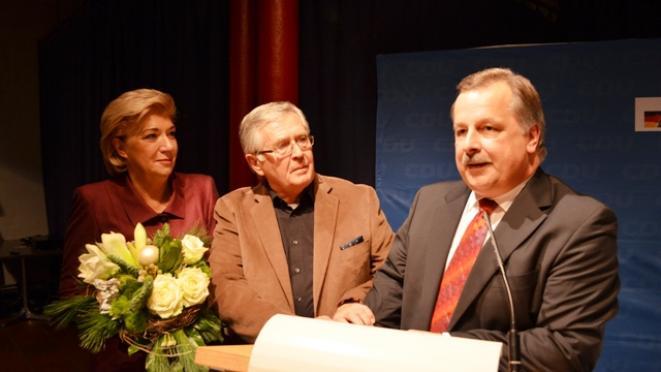 Lena Strothmann MdB. Alt-Oberbürgermeister Eberhard David und Andreas Rüther